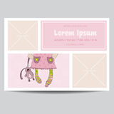 Cute Baby Girl Arrival Card. For Baby Shower, Invitation - in vector stock illustration