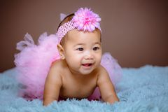 Cute baby girl from Asia pose royalty free stock images