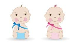 Cute Baby girl Baby boy twin baby vector Stock Photography