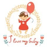 Cute baby girl with balloon Stock Photo