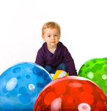 Cute Baby Girl And Balls Royalty Free Stock Images