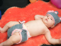 Cute baby girl in the basket Royalty Free Stock Photography