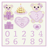Cute baby girl bears with heart and numbers symbol Royalty Free Stock Photos