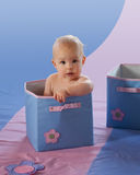 Cute baby girl in blue box (Path included). Adorable baby girl in blue box with flower, clipping path included Royalty Free Stock Image