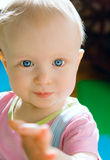 Cute baby girl with blue eyes Royalty Free Stock Images