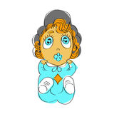Cute baby girl with blue eyes in blue pajamas. Illustration of a red haired child with a soother Stock Images
