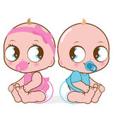 Cute baby girl and boy. Two cute babies, a baby girl and a baby boy Stock Photo