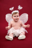 Cute baby girl with butterfly costume. Cute baby girl with white butterfly costume on  red background Stock Photography