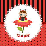 Cute baby girl card. Royalty Free Stock Photo