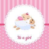 Cute Baby Girl Card. Vector illustration of a baby sleeping on the lamb Royalty Free Stock Photography