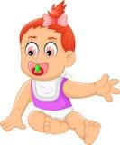 Cute baby girl cartoon waving Royalty Free Stock Photos