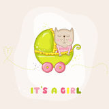 Cute Baby Girl Cat in a Carriage - Baby Shower or Arrival Card Royalty Free Stock Photography