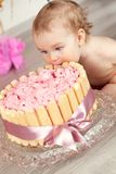 Cute baby girl celebrates birthday one year. Royalty Free Stock Photos