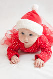 Cute Baby girl  in christmas hat Royalty Free Stock Image