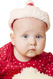 Cute Baby girl  in christmas hat Stock Images