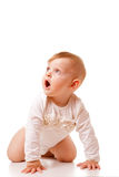 Cute baby girl crawling Stock Photo