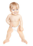 Cute baby girl in diaper Royalty Free Stock Photos