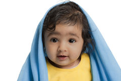 Cute Baby Girl Draped in Blue Blanket Stock Image