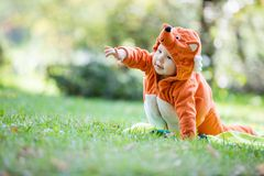 Cute baby girl dressed in fox costume crawling in park. Cute baby girl dressed in fox costume crawling on lawn in park and pointing at something royalty free stock photo