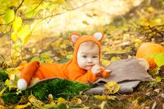 Free Cute Baby Girl Dressed In Fox Costume Royalty Free Stock Photos - 117451998