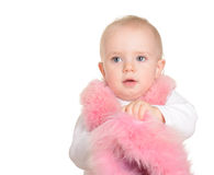 Cute Baby girl dressed in pink fur on white background Stock Photos