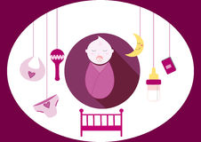 Cute baby girl elements,  illustration Stock Images
