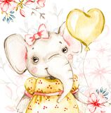Cute baby girl elephant with yellow balloon handpainted watercolor illustration. Hand painted nursery watercolour.