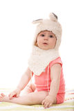 Cute baby girl in fluffy bunny hat Royalty Free Stock Photography