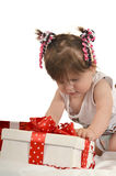 Cute baby girl  with gifts Stock Photo