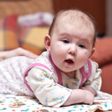 Cute baby-girl with her mouth open Royalty Free Stock Image