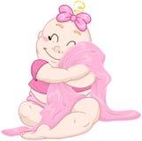 Cute Baby Girl Hugs Pink Blanket Stock Image