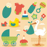 Cute Baby Girl Icons vector illustration