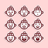 Cute Baby Girl Icons Stock Image