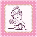Cute Baby Girl Illustration. Illustration of a cute baby girl with a rose Stock Photo
