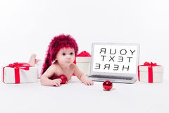 Cute Baby Girl Lying Naked On Her Stomach On A White Background Stock Images