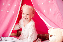 Cute baby girl outdoors Stock Images
