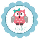 Cute baby-girl owlet royalty free illustration