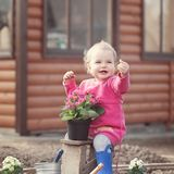 Cute baby girl in pink dress puts flowers Stock Image