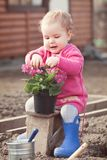 Cute baby girl in pink dress puts flowers Royalty Free Stock Images