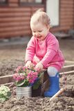 Cute baby girl in pink dress puts flowers Stock Images