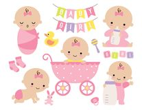 Cute Baby Girl in a Pink Stroller with Baby Items royalty free stock photo