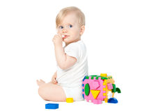 Cute baby girl playing Royalty Free Stock Image