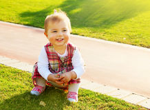 Cute baby girl playing Stock Photos