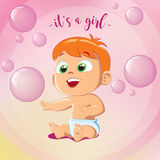 Cute Baby Girl Playing Bubbles. It`s A Girl. Happy birthday. Little girl sitting on floor Royalty Free Stock Images