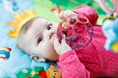 Cute baby girl playing with colorful rattle toy Royalty Free Stock Photography