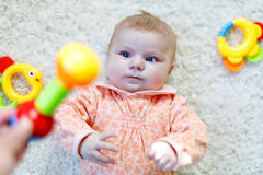 Cute baby girl playing with colorful rattle toy Stock Image