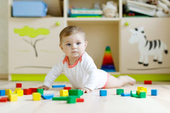 Cute baby girl playing with colorful rattle toys Royalty Free Stock Images