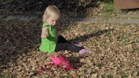 Cute baby girl playing with leaves in autumn stock video