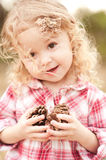 Cute baby girl playing outdoors Royalty Free Stock Photography