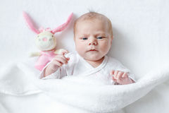 Cute baby girl playing with plush animal toy. Cute adorable newborn baby playing with pink plush animal rattle toy. in white bed at home. New born child, little Royalty Free Stock Photography